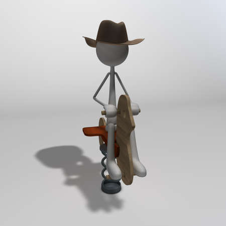 a figure with a cowboy hat sitting on a teeter-totter horse photo