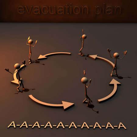 figures roun around in a circle in panic