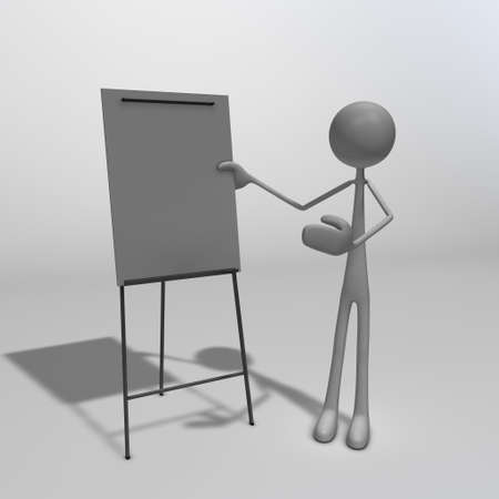 a figure standing next to a flipchart and pointing at it photo
