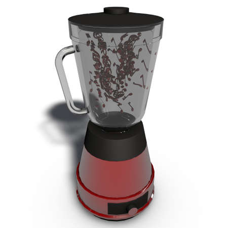 a red blender to mix it up photo