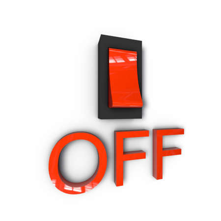 a pictogram to symbolize offpage optimization - switch off Stock Photo