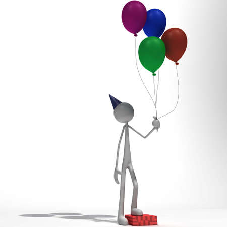 xiller: a figure is standing on a gift package with a couple of ballons