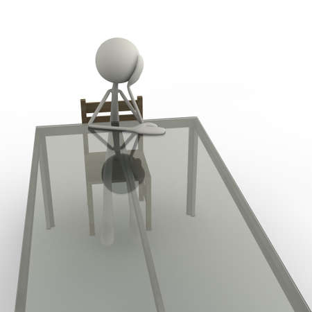 a figure is sitting bored at the table photo