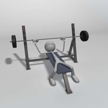 sweat: a figure is training on a weight bench Stock Photo