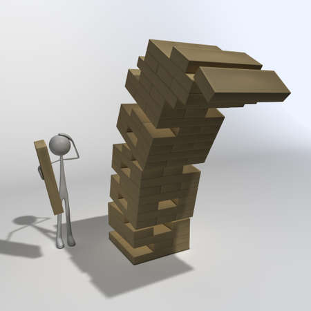 a figure is playing wooden blocks and made the last move