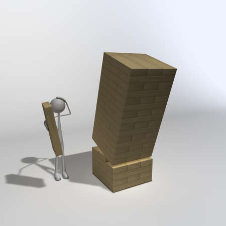 a figure is playing wooden blocks and wondering why its falling over