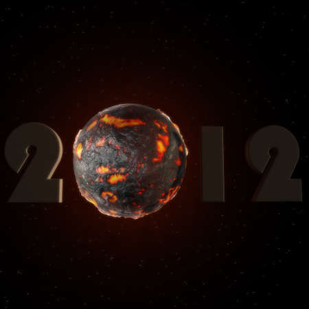 a lettering of 2012 with a lava ball photo