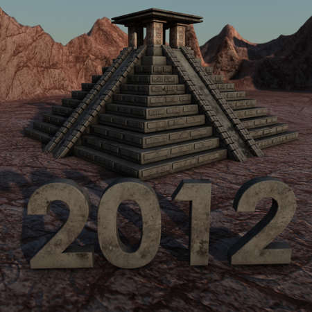mayan prophecy: a Mayan Pyramid with a lettering of 2012