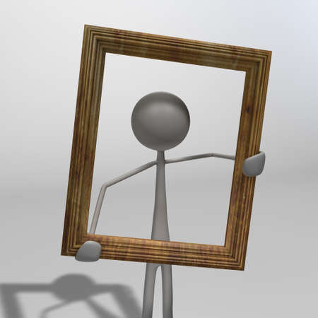 xiller: a figure holdig a picture frame in his hands Stock Photo