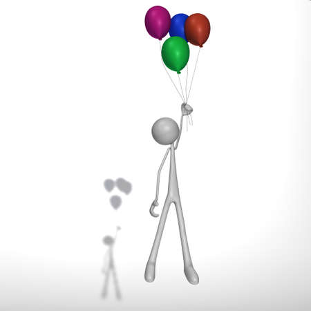 xiller: a figure is flying with ballons in the air