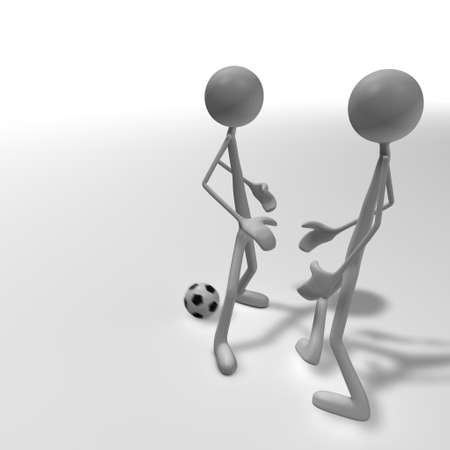 two kickers are fighting for the football Stock Photo - 13148979