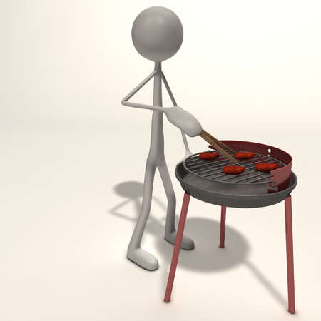 winter grilling: a figure has a barbecue with barbecue tongs