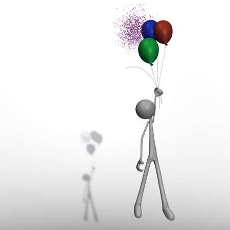 a figure is flying with balloons while one of them is bursting Stock Photo