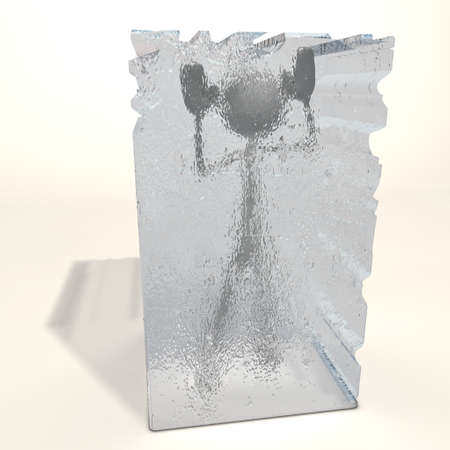 a figure is frozen in an ice cube Stock Photo
