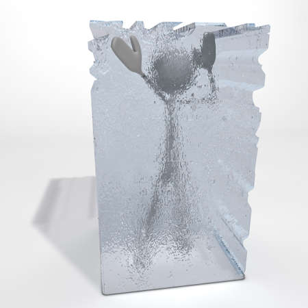 a figure is frozen in an ice cube - one hand stretched out