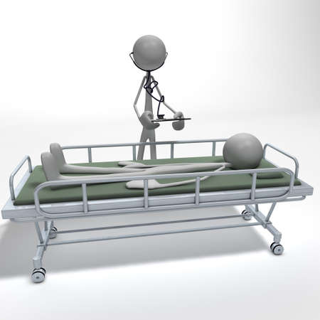 a doctor is examining his patient lying on a divan bed
