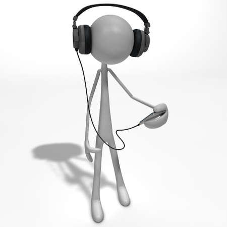 a figure is listening to the musik with headphones