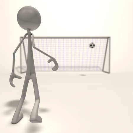 a figure shoots a football for the goal - focus man