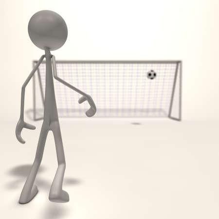 xiller: a figure shoots a football for the goal - focus man