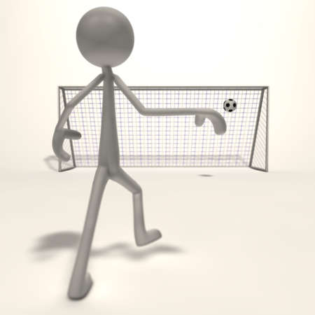a figure shoots a football for the goal - focus goal