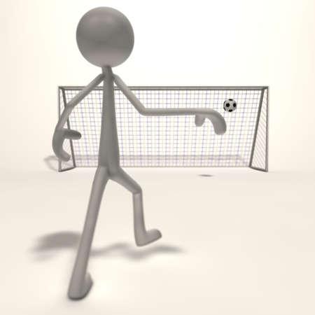 xiller: a figure shoots a football for the goal - focus goal
