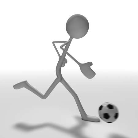 xiller: a figure is playing soccer - side view Stock Photo