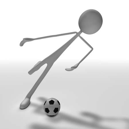 bmwa: a figure is playing soccer - front view
