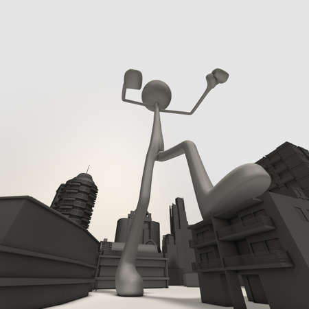 destroy: an enormous stickman is attacking the city - low-angle shot Stock Photo