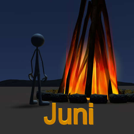 bonfire: a figure is standing near a fire in June