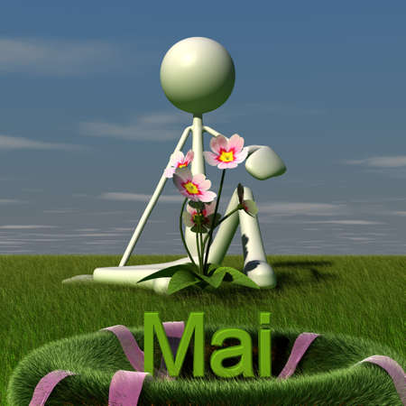 hayfield: a figure is sitting on the grass in May