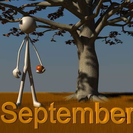 retrospect: a figure is standing in front of a tree in September Stock Photo