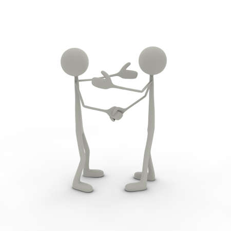 greets: two figures are shaking hands with arms up Stock Photo
