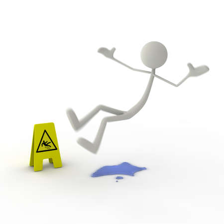 slips: a figure slipping on a puddle - yellow danger sign