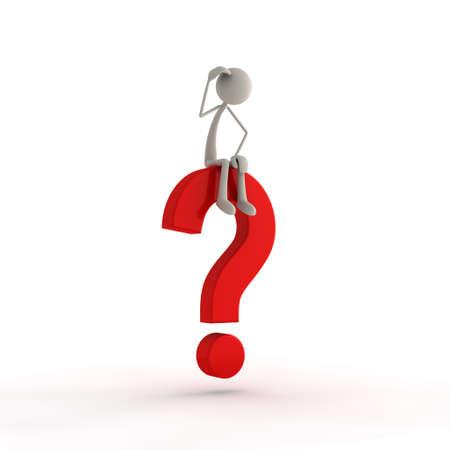 query: een figuur, zittend op een rood vraagteken Stockfoto