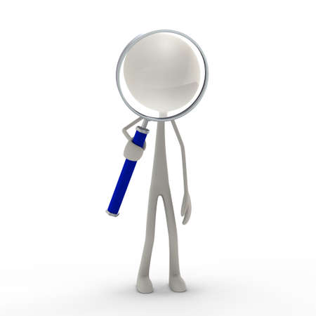 a figure standing with magnifying lens - blue