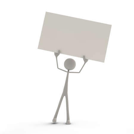 bmwa: a figure is holding a signboard in the air Stock Photo