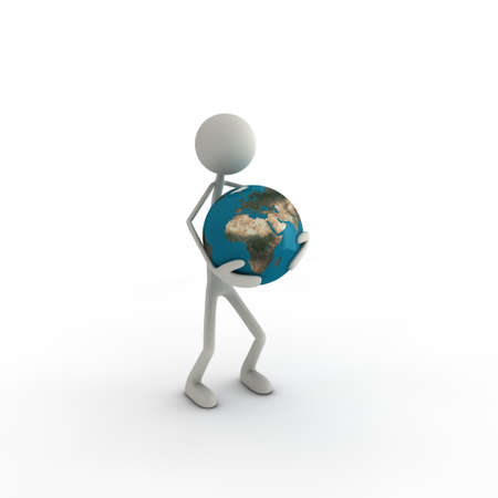 cartoon world: figure with a globus in his hands - europe Stock Photo