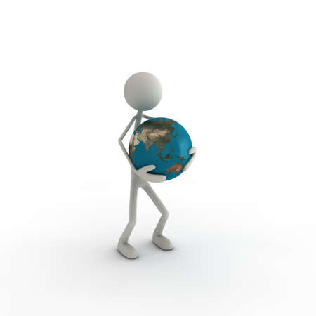 xiller: figure with a globus in his hands - asia Stock Photo
