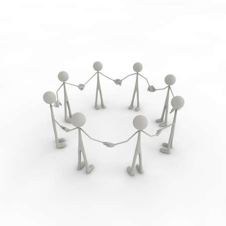 human figures: a group of figures built a circle of figures
