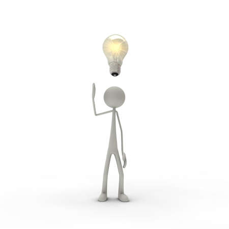 a figure with an electric bulb - metaphor for an idea