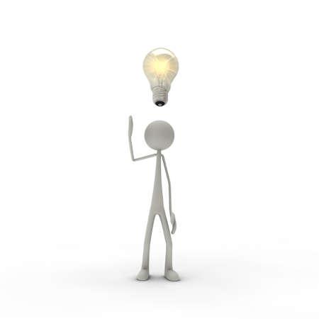 perceive: una figura con una lampadina elettrica - metafora di un'idea