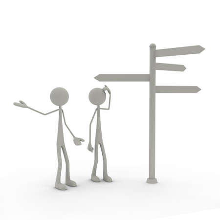 right way: two figures stand in front of a direction sign - perplexed Stock Photo