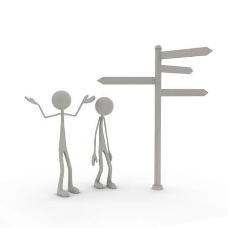 bmwa: two figures stand in front of a direction sign - arms in the air