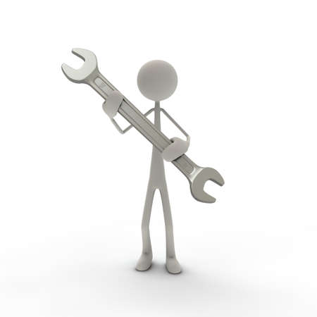 bmwa: a figure hold a gray screw-wrench in his hands Stock Photo