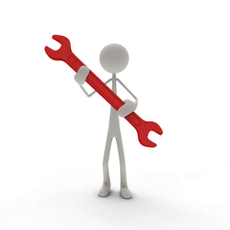 a figure hold a red screw-wrench in his hands Stock Photo - 13146999