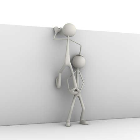 advancement: figure helps the otherone by climbing a wall