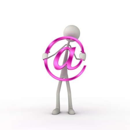 xiller: figure hold a at-symbol in his hand - pink Stock Photo