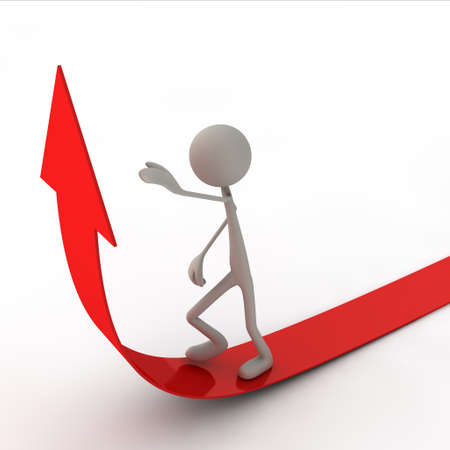 succes: figure are going on the arrow - red Stock Photo