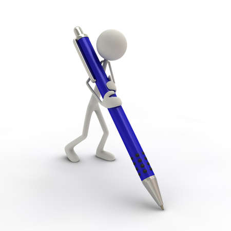 a figure with a big ball-pen - blue Stock Photo