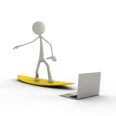 bmwa: figure surfs with a yellow surfboard in the internet